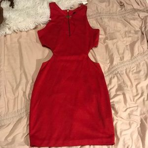 Asos petite sexy red cutout dress